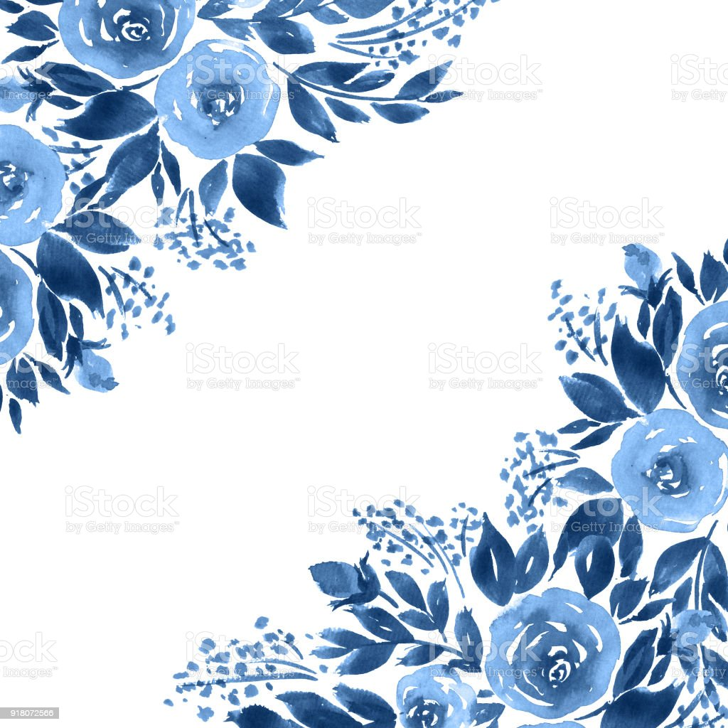 Indigo Blue Watercolor Roses Monochrome Floral Template Stock Vector Art Amp More Images Of Art