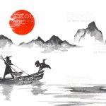 Traditionelle Japan Japanische Malerei Sumie Kunst Japan Traditionellen Japanischen Malerei Sumie Kunst Mann Mit Boot Stock Vektor Art Und Mehr Bilder Von Anhohe Istock
