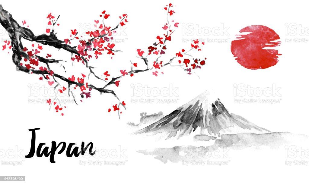 peinture traditionnelle sumie japon sakura cerisiers en fleurs mont fuji illustration de lencre de chine photo japonais vecteurs libres de droits et plus d images vectorielles de arbre istock