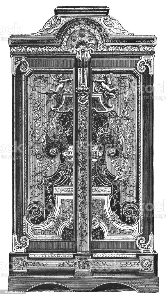 louis xiv style armoire by andrecharles boulle stock illustration download image now istock