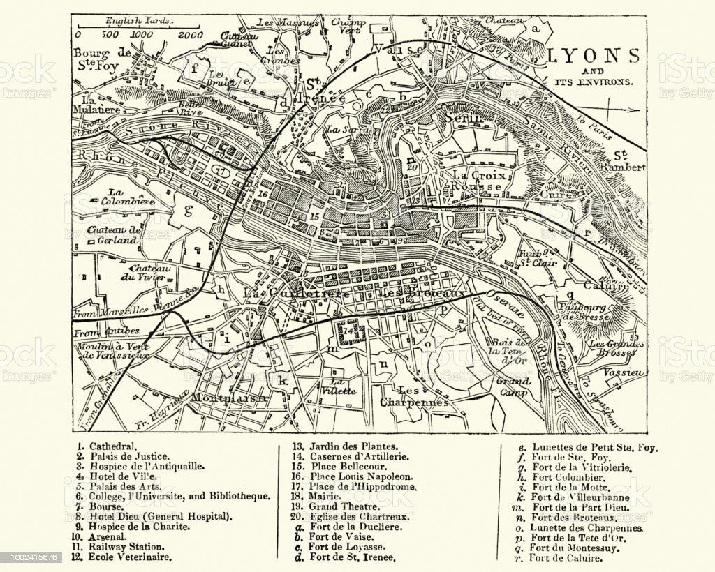 map of lyons france 19th century stock illustration download image now istock