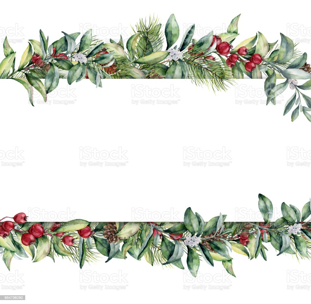 Watercolor Christmas Floral Banner Hand Painted Floral