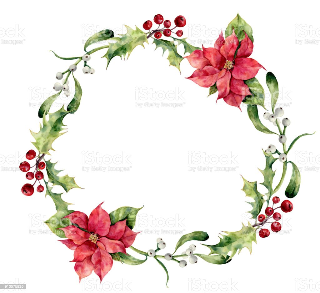 Watercolor Christmas Wreath With Holly Mistletoe And