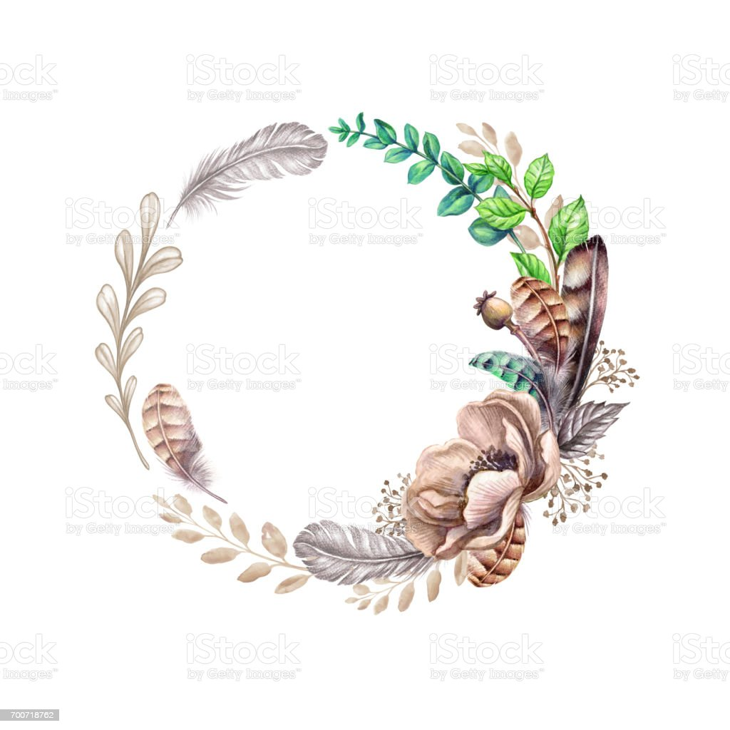 Watercolor Illustration Flowers Leaves And Feathers Rustic