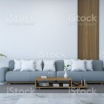 White Room Interior Blue Sofa And Wood Table On Marble Floor And White Wall 3d Render Stock Illustration Download Image Now Istock
