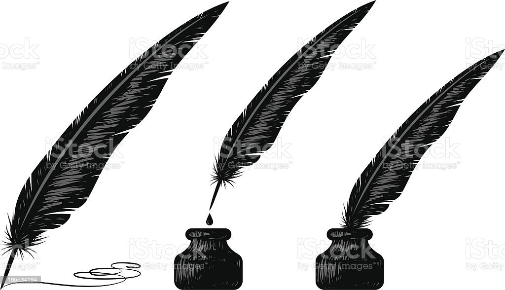 Woodblock Quill Stock Vector Art & More Images Of Black