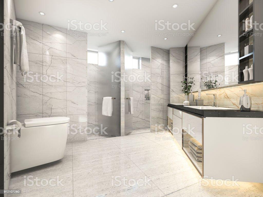 photo libre de droit de 3d rendu creme vintage salle de bain moderne avec decor de carrelage de luxe banque d images et plus d images libres de droit de appartement istock