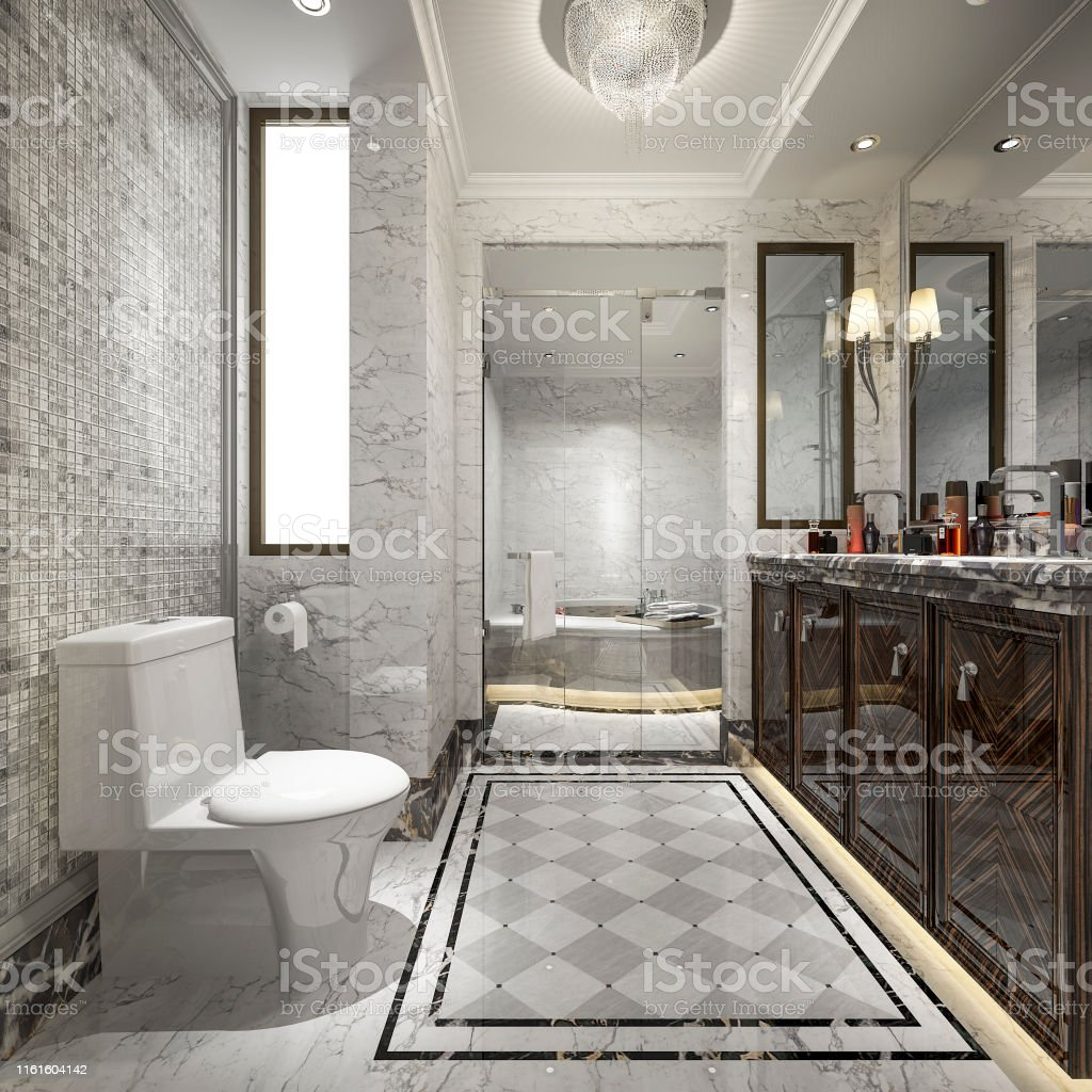 3d rendering modern classic bathroom with luxury tile decor with view from window stock photo download image now istock