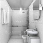 3d Rendering White Tone Minimal Ad Small Bathroom Stock