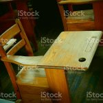 An Old Wood Student Desk And Chair Combination Stock Photo Download Image Now Istock