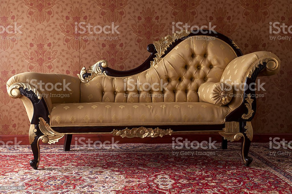 Antique Black And Gold Chaise Lounge In Red Room Stock Photo Download Image Now Istock