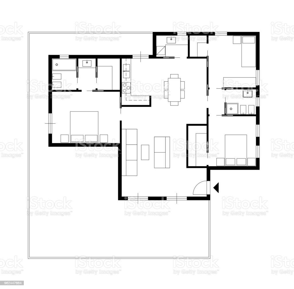 photo libre de droit de dessin darchitecture dune maison privee avec cuisine chambres salon salle a manger salle de bain et meubles vue de dessus grenier concept design dinterieur banque d images et