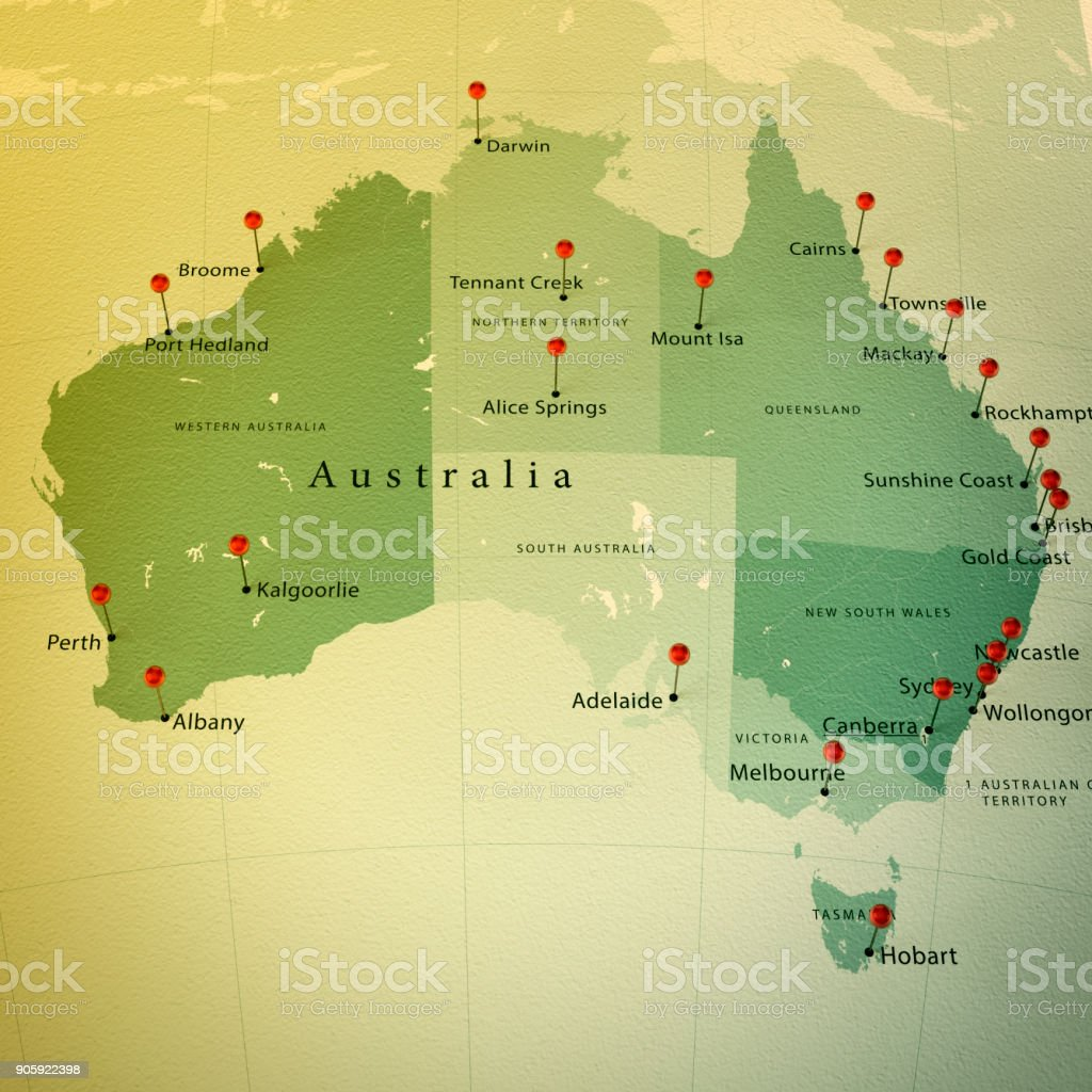 Royalty Free Australia Map Pictures  Images and Stock Photos   iStock Australia Map Square Cities Straight Pin Vintage stock photo