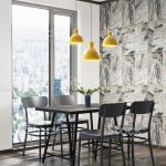 Beatuful Modern Dining Room Interior Corner Scene With Dark Chairs Dark Wood Table And Large Window Stock Photo Download Image Now Istock