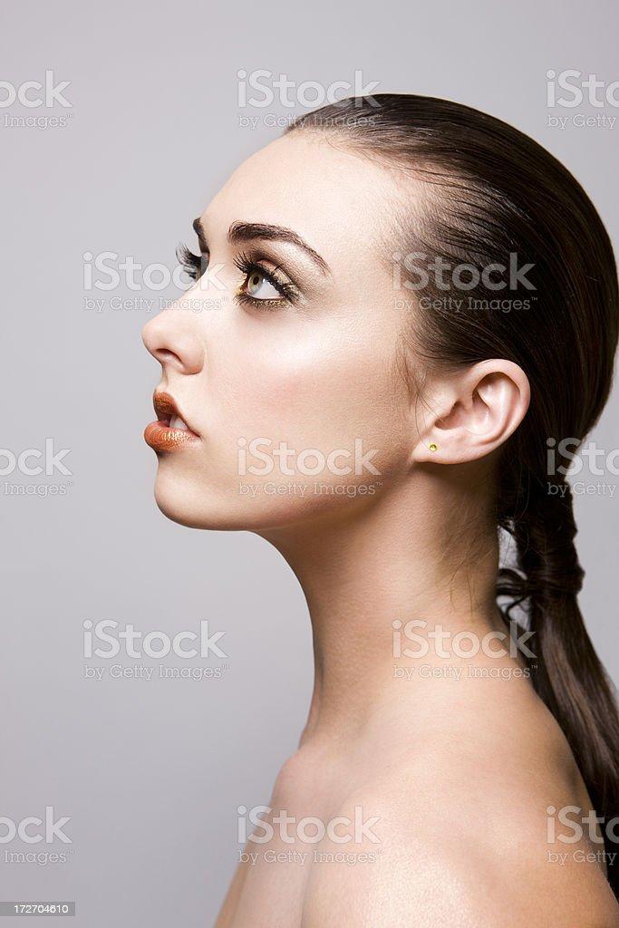 Beautiful Brunette Young Woman Beauty Model Profile Hair