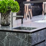 Beautiful Modern Kitchen Design Kitchen Faucet And Kitchen Decor Gray Marble Kitchen Island Stock Photo Download Image Now Istock