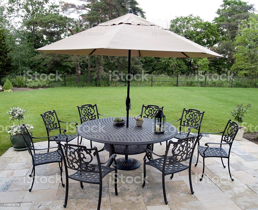 https www istockphoto com photo black metal patio furniture set with tan umbrella gm172875273 6592184