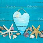 Blank Heart Shaped Sign With Seashell Border Stock Photo Download Image Now Istock