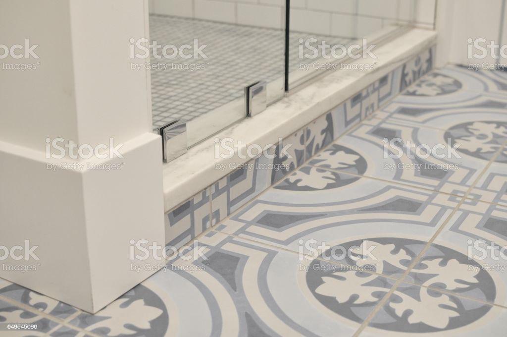 blue patterned floor tiles in bathroom stock photo download image now istock