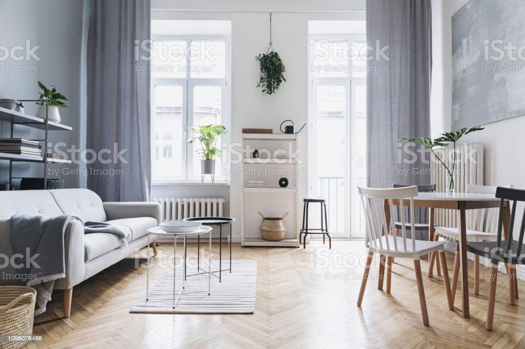 https www istockphoto com fr photo maison nordique salon lumineux avec canap c3 a9 design table de famille plante blanche gm1098076488 294898514