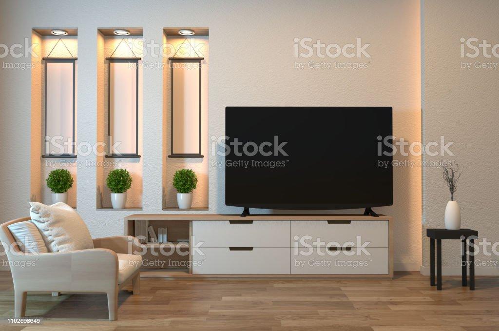https www istockphoto com fr photo armoire de tv sur lint c3 a9rieur de pi c3 a8ce zen et la conception de mur d c3 a9tag c3 a8re la gm1162698649 319005688