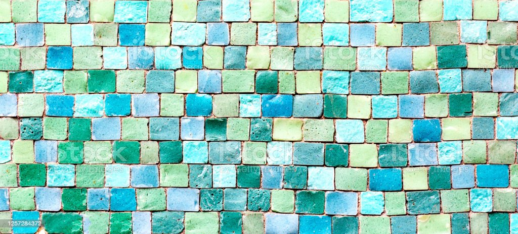 ceramic mosaic tiles texture or background colorful blue and green pastel mosaic wall stock photo download image now istock