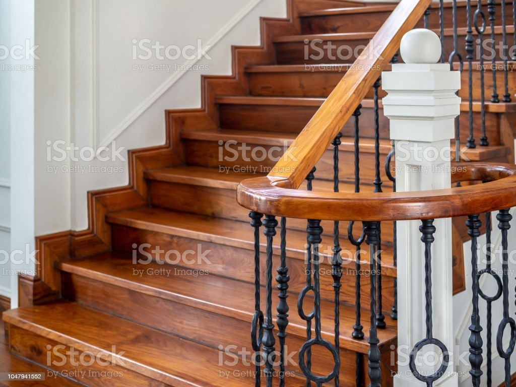 Classic Vintage Staircase In Contemporary House Stock Photo | Iron And Wood Staircase | Internal | Farmhouse | Free Standing Wood | Modern | Design