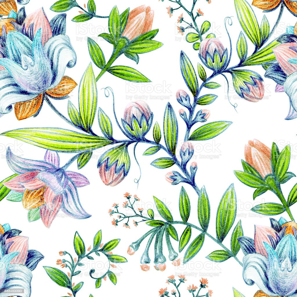 Colorful Floral Pattern Bright Flowers Wallpaper Stock Photo Download Image Now Istock