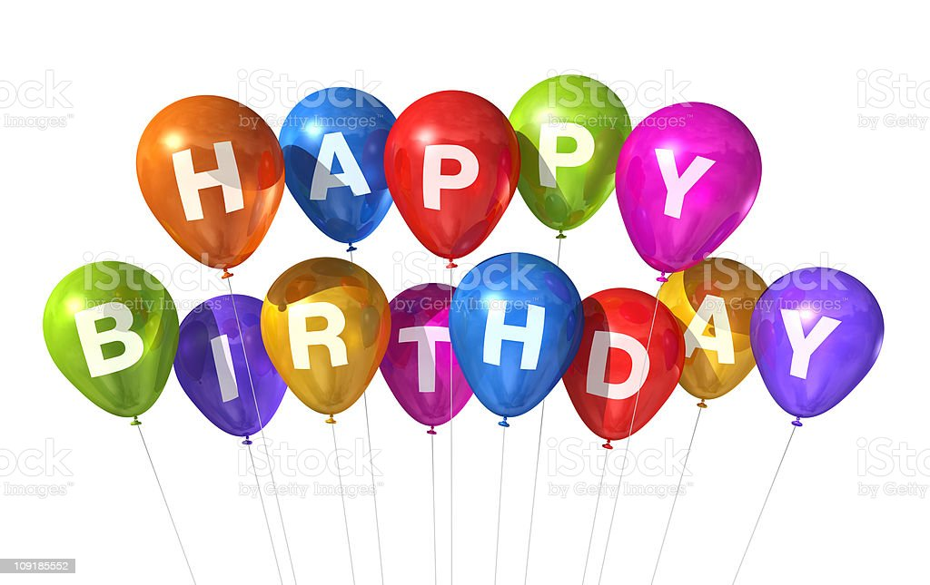 Colorful Happy Birthday Balloons On A White Background Stock Photo Download Image Now Istock