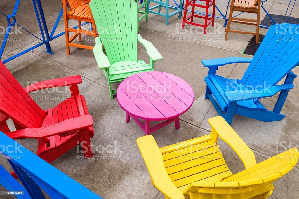 https www istockphoto com photo colorful patio chairs and table gm473684984 64907345
