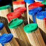 Bambu Laminado Colorida Playa Esteras Closeup Foto De Stock Y Mas Banco De Imagenes De Azul Istock