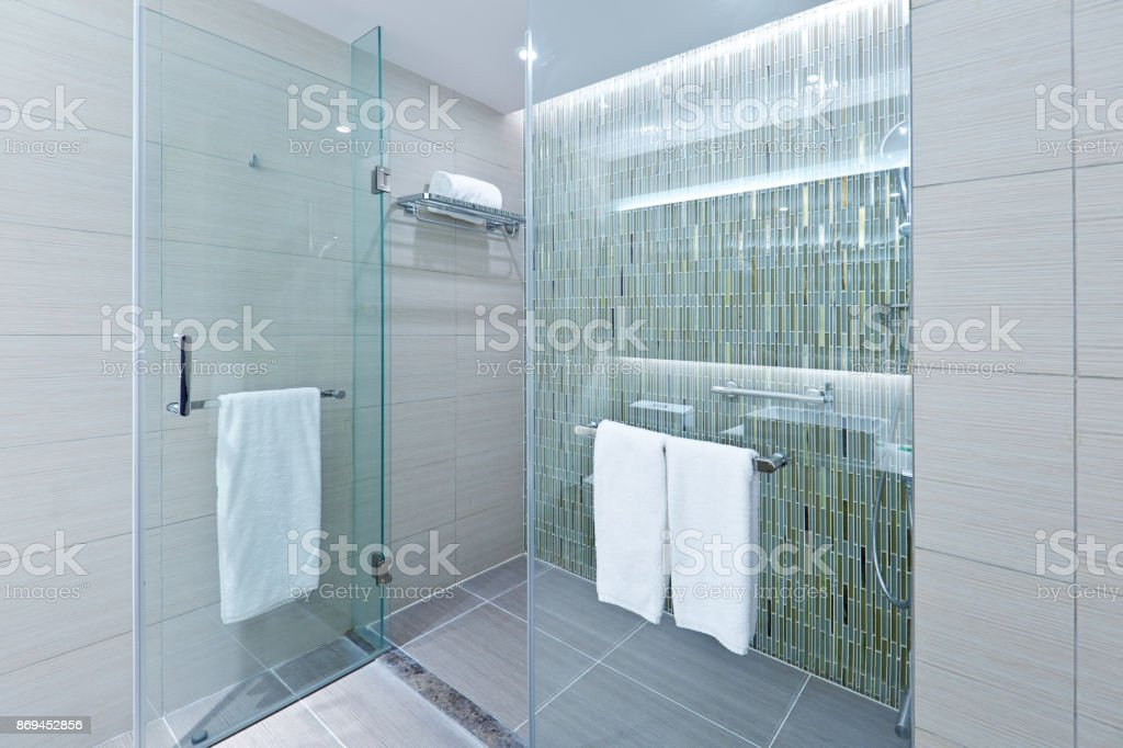 contemporary bathroom design with glass shower stall stock photo download image now istock