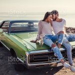 Couple With Retro Car Stock Photo Download Image Now Istock