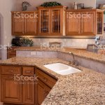 Custom Luxury Eatin Kitchen With Granite Counters Oak Cabinets Stock Photo Download Image Now Istock