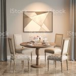 Dining Room With Marble Floor And Two Windows With Curtains With A Picture And A Table Served For Four Front View Stock Photo Download Image Now Istock