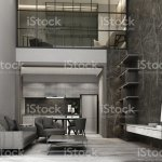 Double Space Living And Dining Area Wiht Wooden Floor And Marble Pattern Wall Decorate Mezzanine Working Area Interior 3d Rendering Stock Photo Download Image Now Istock