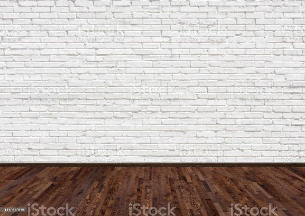 empty room with dark brown ash wood floor and old white painted brick wall empty loft room for design interior stock photo download image now istock