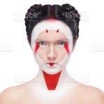 Foto De Face Painting In Japan Style Body Art Colorful Makeup Geisha Isolated On White Background E Mais Fotos De Stock De Adorno Corporal Istock