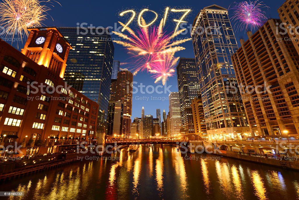 Fireworks For New Year 2017 In Chicago Stock Photo   More Pictures     Fireworks for New Year 2017 in Chicago royalty free stock photo