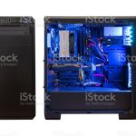 Gaming Computer Isolated Modern Computer Case With Components Front And Side View Rgb Light Stock Photo Download Image Now Istock