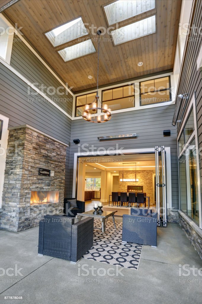 gorgeous covered patio boasts high ceiling with skylights stock photo download image now istock
