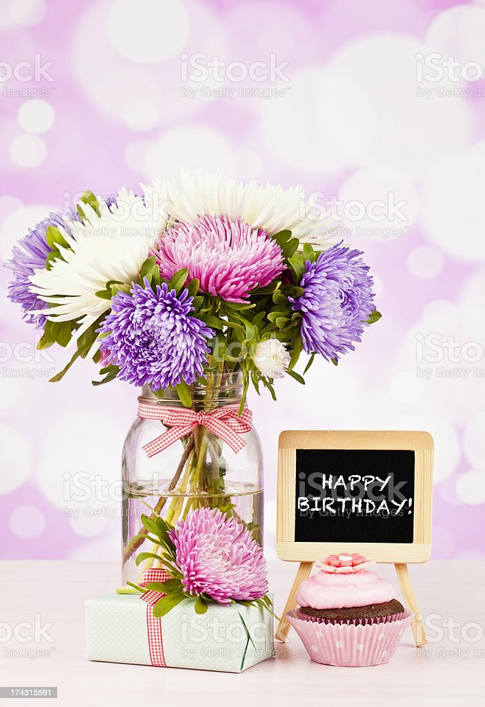 Happy Birthday Flowers With Cupcake And Gift Stock Photo Download Image Now Istock
