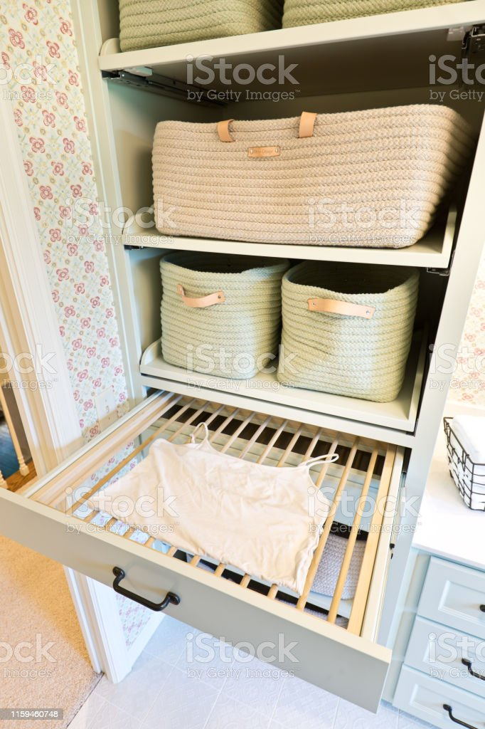 interior design builtin clothes drying rack of laundry utility room of residential home stock photo download image now istock