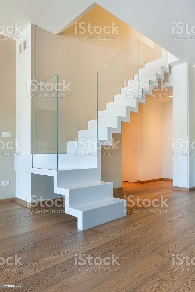 Interior White Iron And Glass Staircase And Wooden Floor Stock   White Wood And Glass Staircase   Design   70'S   Thick Solid Oak Stair   Bannister   Indoor Glass
