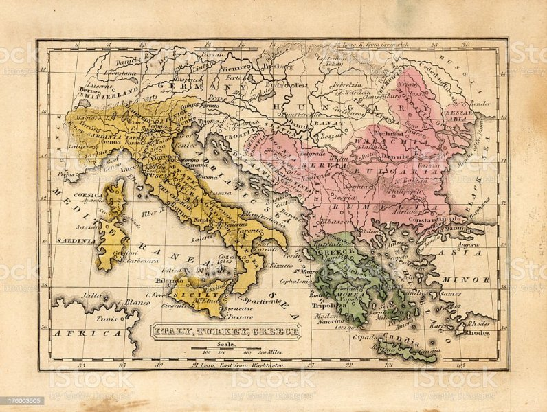 Map italy greece world map full maps italy turkey greece vintage map stock photo more pictures of italy turkey greece vintage map royalty gumiabroncs Images