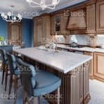 Kitchen With Granite Island And Cherry Wood Cabinetry Stock Photo Download Image Now Istock