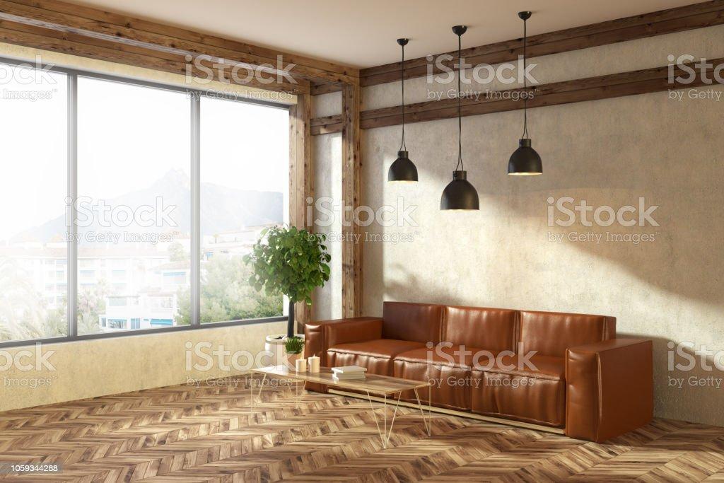 Leather Sofa In Beige Living Room Corner Stock Photo Download Image Now Istock