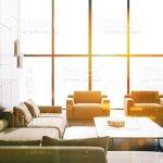 Loft Black Marble Living Room Beige Sofa Woman Stock Photo Download Image Now Istock