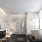 Luxury Bathroom With Black Marble Floor And White Marble Wall 3d Render Stock Photo Download Image Now Istock