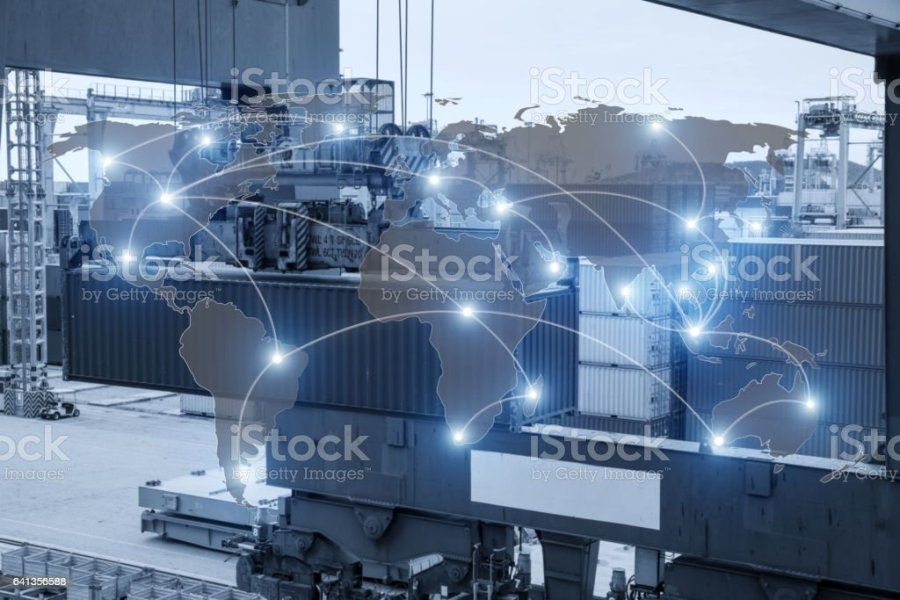Map Global Logistics Partnership Connection Of Container Cargo     Map global logistics partnership connection of Container Cargo freight ship  royalty free stock photo